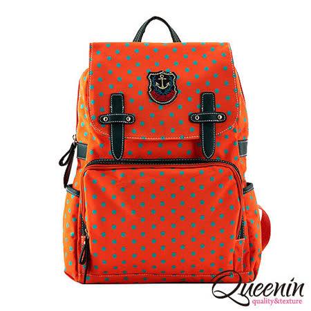 DF Queenin日韓 - 韓版學院風拉鍊式點點後背包-漾橘