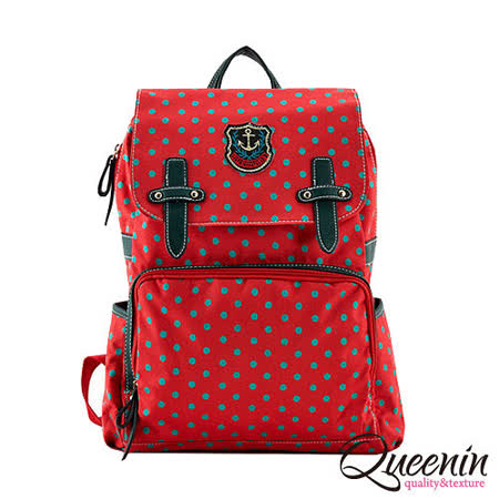 DF Queenin日韓 - 韓版學院風拉鍊式點點後背包-亮紅