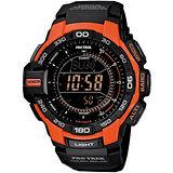 CASIO PRG 270第三代創新技術感應登山錶-橘紅框(PRG-270-4DR)