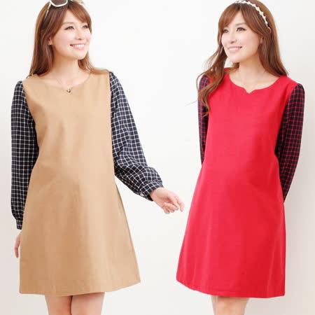 【時尚媽咪】知性簡約格紋袖素雅洋裝(共二色)
