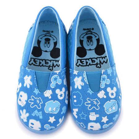 童鞋城堡-Disney 迪士尼 中童 米奇帆布休閒鞋453621-藍