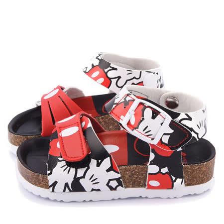 童鞋城堡-Disney迪士尼 中童 米奇經典款軟木風格涼鞋453805-紅
