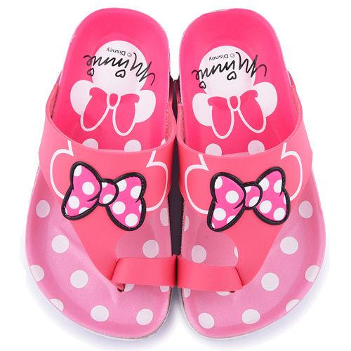童鞋城堡-Disney 迪士尼 中童 米妮甜美軟木風格拖鞋454722-桃