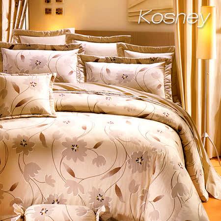 《KOSNEY 花葉風情》加大100%活性精梳棉六件式床罩組台灣製
