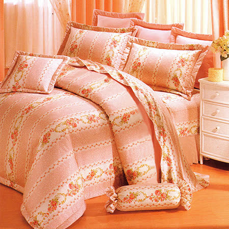 《KOSNEY 花香美色》加大100%活性精梳棉六件式床罩組台灣製