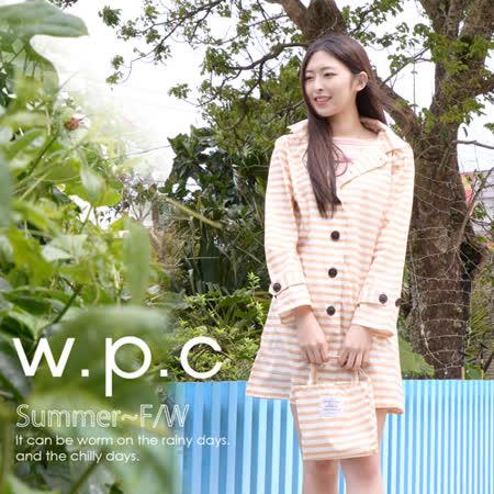 【w.p.c.】條紋釦子款。時尚雨衣/風衣(R1028)_卡其條紋