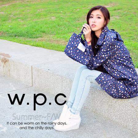 【w.p.c.】連帽豹紋款。時尚雨衣/風衣(R1022)_深藍