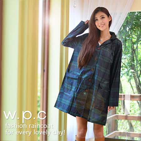 【w.p.c.】寬版色織格紋款。時尚雨衣/風衣(R1016)_綠格