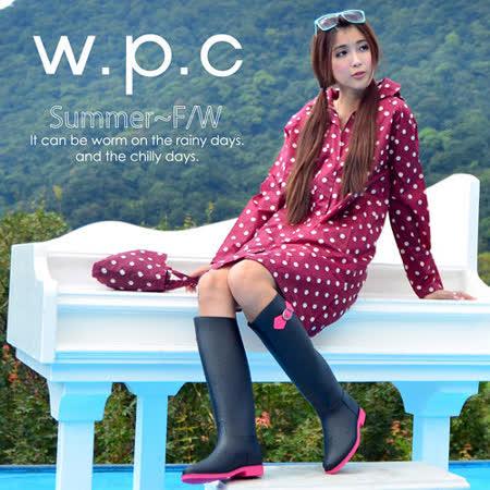 【w.p.c.】顯瘦修長款。時尚雨衣/風衣(R1005)-桃紅