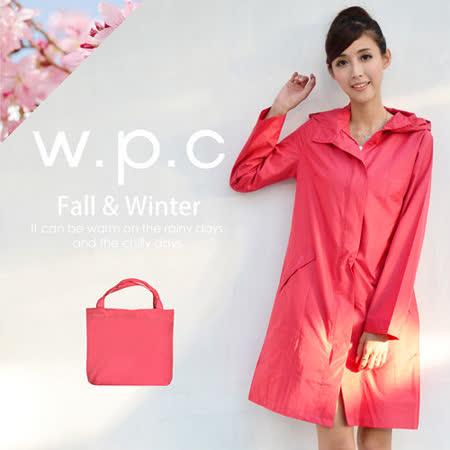 【w.p.c.】日系經典款。時尚雨衣/風衣(R1001)-桃紅