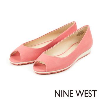 NINE WEST-甜美運動風 魚口設計平底鞋-俏皮粉