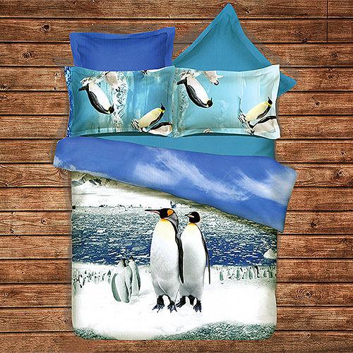 ~KOSNEY 親子企鵝~ 加大蜜絲絨四件式兩用被床包組