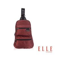 ELLE HOMME時尚火紅IPAD側背包搭配皮革防潑水尼龍精品設計款-紅EL83783A-80