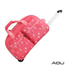 【AOU微笑旅行】CARANY系列 春漾拉桿旅行袋 行李袋(粉背貓咪104-004)