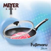 【MEYER】美國美亞Fujimaru藍珊瑚單柄不沾平煎鍋28CM+玻璃蓋