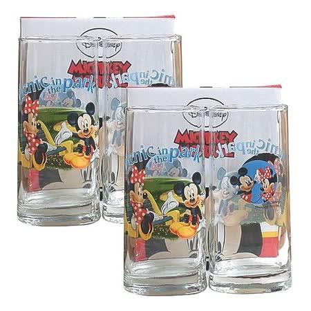 Disney米奇米妮野餐圖案玻璃杯340cc-四入組