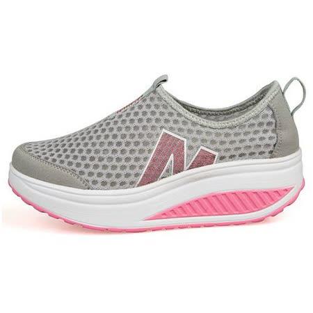【Maya easy】增高搖擺鞋 透氣網布 懶人套腳運動鞋-灰底