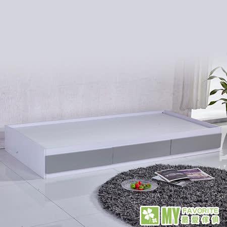 免組裝單人收納床+床墊(附3個抽屜)