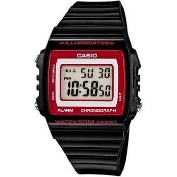 CASIO 繽紛個性馬卡龍休閒電子錶 (黑/紅框)