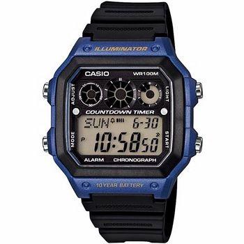 CASIO 雷神戰士個性運動電子錶 (黑x藍)