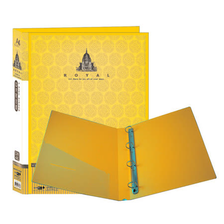 【檔案家】皇族附封面4孔D夾-黃藍黑