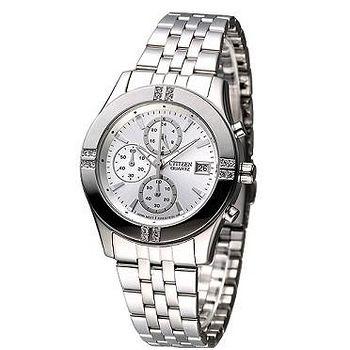 CITIZEN 氣質仕女3眼計時晶鑽腕錶 -銀白