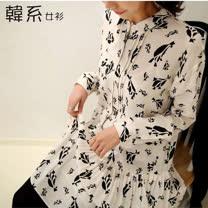 【韓系女衫】(s-l)春秋雪紡紗優質長袖黑白抽象花朵系列連衣裙-白色