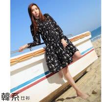 【韓系女衫】(s-l)春秋雪紡紗優質長袖黑白抽象花朵系列連衣裙-黑色