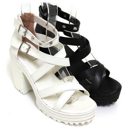 【Pretty】個性女孩交叉鉚釘粗高跟涼鞋