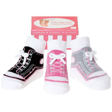 美國 Baby Emporio 造型棉襪 粉紅布鞋 女嬰 嬰兒襪 襪子 0-9M 3件組