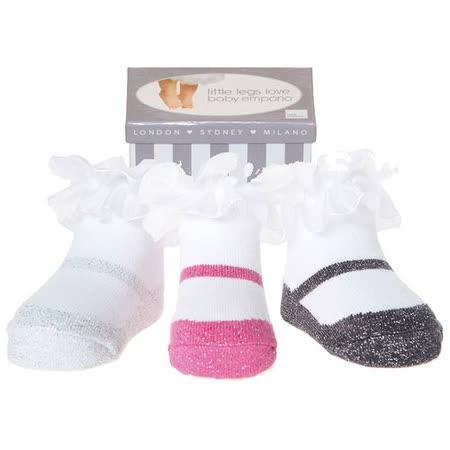 美國 Baby Emporio 造型棉襪 金蔥瑪莉珍 女嬰 嬰兒襪 襪子 0-9M 3件組