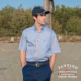 【FANTINO】男款 彩色線條縫製休閒襯衫(藍) 434515