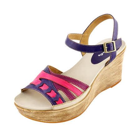 【Kimo德國品牌手工氣墊鞋】造型炫彩超輕楔型涼鞋_迷戀紫(藍/紫_K14SF065029)