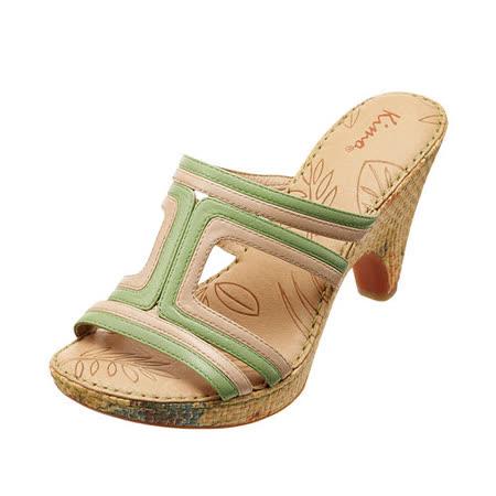 【Kimo德國品牌手工氣墊鞋】雙色線條拉菲草細跟涼鞋_春漾綠(綠/橘_K14SF017191)