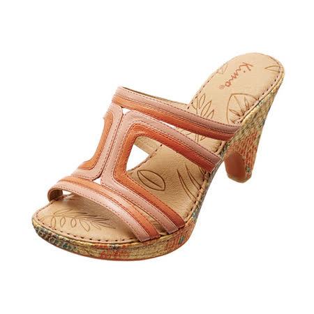 【Kimo德國品牌手工氣墊鞋】雙色線條拉菲草細跟涼鞋_糖果橘(綠/橘_K14SF017199)