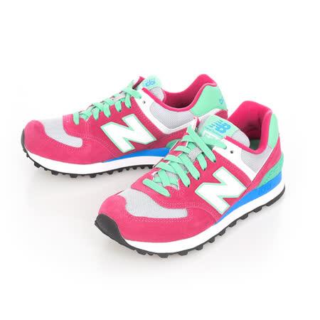 New Balance(女)麂皮復古慢跑鞋-桃藍綠-WL574CPV