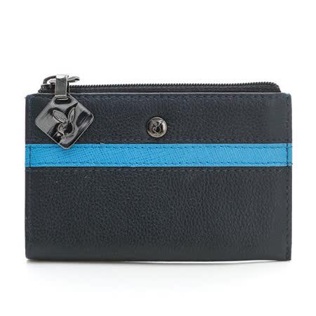 PLAYBOY-Q- Quade系列鑰匙零錢包-藍色