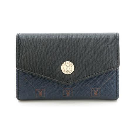 PLAYBOY- Heritage 系列卡夾零錢包-深藍色