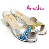 ANNALEE 優雅璀璨水鑽高彩度撞色全真皮漸層高跟拖鞋