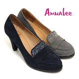 ANNALEE 知性時尚雙彩碎鑽牛麂皮高跟福樂鞋