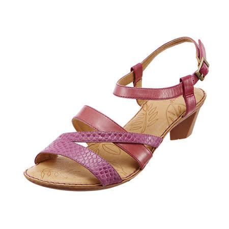 【Kimo德國品牌手工氣墊鞋】雙色雙質感繫帶低跟涼鞋_珊瑚紅(藍/紅_K14SF038167)