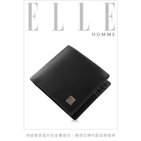 ELLE HOMME 法式精品短夾嚴選義大利皮革樹紋、鈔票多層/證件/名片格層設計-黑EL81803-02