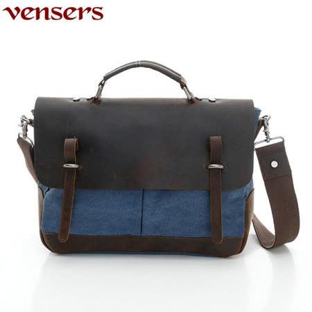 【Vensers】韓潮頂級棉麻包系列~斜肩揹包(C6896101藍色)