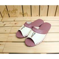 【クロワッサン科羅沙】Peter Rabbit 室內鞋 素邊皮拖 粉 25CM