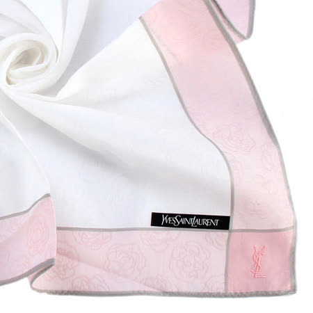 YSL 玫瑰緹花飾邊純棉帕巾-粉色