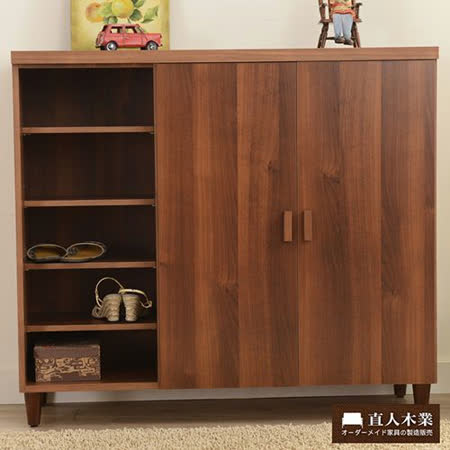 【日本直人木業】簡約美學-胡桃木色北歐收納鞋櫃