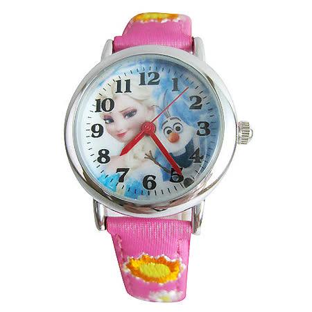 【迪士尼】FROZEN冰雪奇緣繡花兒童錶卡通錶-艾莎&雪寶