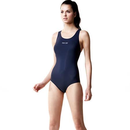 【SAIN SOU】競賽/泳隊/專業用大女連身三角泳裝加贈矽膠泳帽 7007