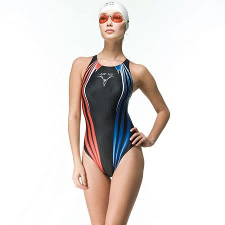 【SAIN SOU】競賽/泳隊/專業用大女連身三角泳裝加贈矽膠泳帽 7015