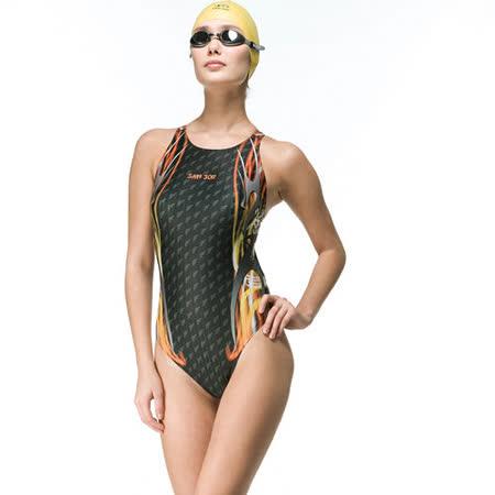 【SAIN SOU】競賽/泳隊/專業用大女連身三角泳裝加贈矽膠泳帽7016